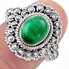 3.25cts solitaire natural malachite (pilot's stone) silver ring size 8 t46131
