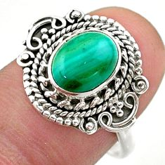3.07cts solitaire natural malachite (pilot's stone) silver ring size 8 t46166