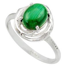 3.07cts solitaire natural malachite (pilot's stone) silver ring size 9 r40633