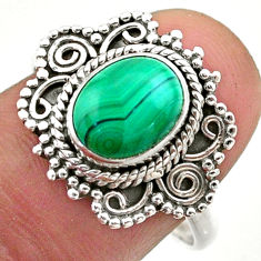 3.41cts solitaire natural malachite (pilot's stone) silver ring size 8.5 t46172