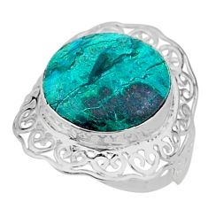 13.87cts solitaire natural malachite in chrysocolla silver ring size 7 t15530