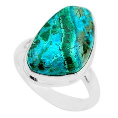 11.97cts solitaire natural malachite in chrysocolla silver ring size 8 t27831