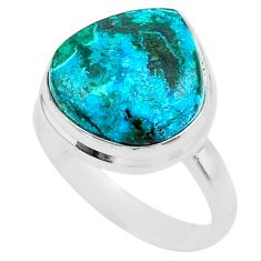 12.80cts solitaire natural malachite in chrysocolla silver ring size 9 t27849