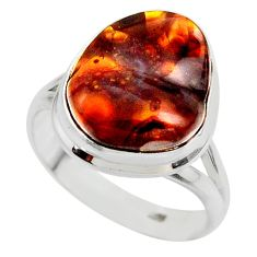 9.47cts solitaire natural mexican fire agate 925 silver ring size 8.5 r50081