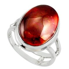 9.99cts solitaire natural mexican fire agate 925 silver ring size 6.5 r50091