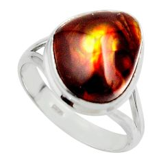 9.30cts solitaire natural mexican fire agate 925 silver ring size 9.5 r50092