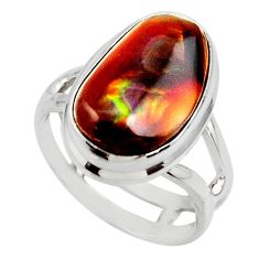 8.42cts solitaire natural mexican fire agate 925 silver ring size 6.5 r50098