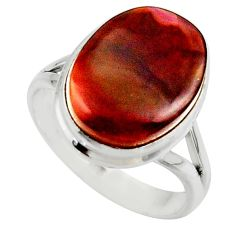 8.77cts solitaire natural mexican fire agate 925 silver ring size 8.5 r50099