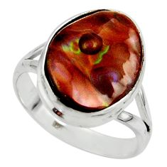 7.04cts solitaire natural mexican fire agate 925 silver ring size 8.5 r50106