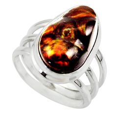 8.76cts solitaire natural mexican fire agate 925 silver ring size 6.5 r50110