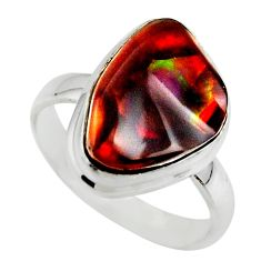9.86cts solitaire natural mexican fire agate 925 silver ring size 9.5 r50111