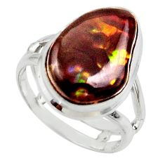 9.47cts solitaire natural mexican fire agate 925 silver ring size 6.5 r50118