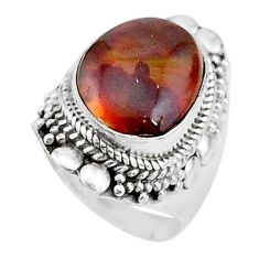 8.03cts solitaire natural mexican fire agate 925 silver ring size 7 t15550