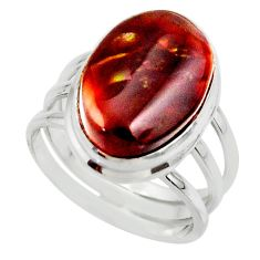 10.37cts solitaire natural mexican fire agate 925 silver ring size 8 r50113