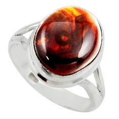 7.67cts solitaire natural mexican fire agate 925 silver ring size 8 r50120