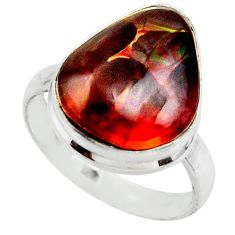12.07cts solitaire natural mexican fire agate 925 silver ring size 9 r50090
