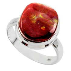 9.10cts solitaire natural mexican fire agate 925 silver ring size 9 r50096