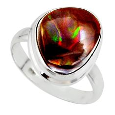 8.77cts solitaire natural mexican fire agate 925 silver ring size 9 r50112