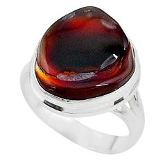10.55cts solitaire natural mexican fire agate 925 silver ring size 7.5 t10433