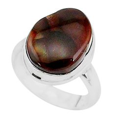 7.05cts solitaire natural mexican fire agate 925 silver ring size 6.5 t10449