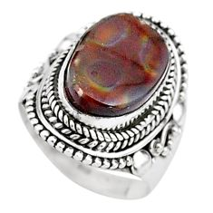 8.02cts solitaire natural mexican fire agate 925 silver ring size 7.5 t15551