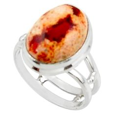 6.04cts solitaire natural mexican fire opal 925 silver ring size 6.5 r50781