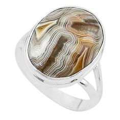 14.72cts solitaire natural mexican laguna lace agate silver ring size 10 t17829