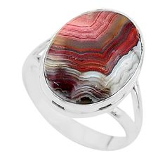 14.26cts solitaire natural mexican laguna lace agate silver ring size 10 t17833