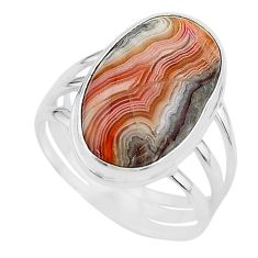 17.20cts solitaire natural mexican laguna lace agate silver ring size 11 t17832