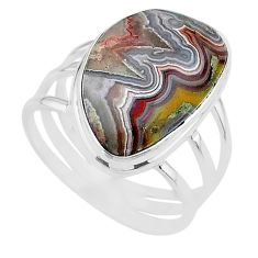 16.46cts solitaire natural mexican laguna lace agate silver ring size 11 t17835