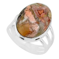 18.15cts solitaire natural mexican laguna lace agate silver ring size 11 t17838