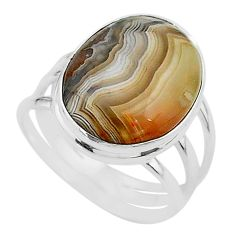 18.15cts solitaire natural mexican laguna lace agate silver ring size 11 t17839