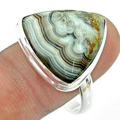 14.90cts solitaire natural mexican laguna lace agate silver ring size 11 t54148