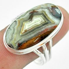 17.90cts solitaire natural mexican laguna lace agate silver ring size 11 t54180