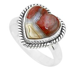 4.67cts heart mexican laguna lace agate silver handmade ring size 6 t21791