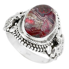 7.33cts solitaire natural mexican laguna lace agate silver ring size 7 t15486