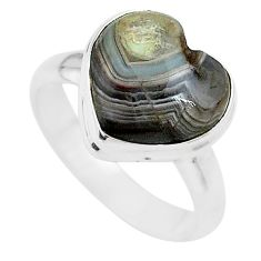 5.56cts heart mexican laguna lace agate silver handmade ring size 7 t21792
