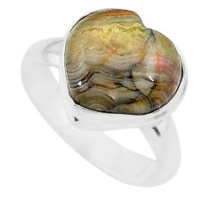 5.38cts heart mexican laguna lace agate silver ring size 7 t21796