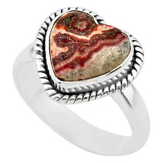5.10cts solitaire natural mexican laguna lace agate silver ring size 7 t29209