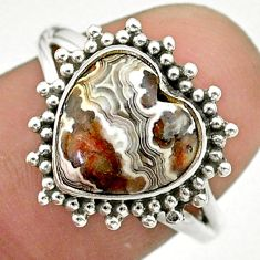 5.42cts solitaire natural mexican laguna lace agate silver ring size 7 t41603