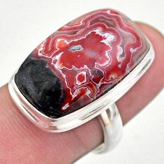 18.01cts solitaire natural mexican laguna lace agate silver ring size 7 t46908