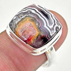 12.89cts solitaire natural mexican laguna lace agate silver ring size 7 t46910