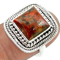 5.27cts solitaire natural mexican laguna lace agate silver ring size 7 t55972