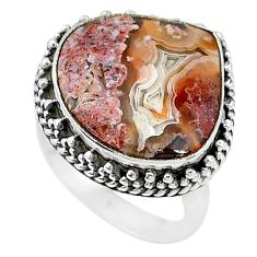 15.33cts solitaire natural mexican laguna lace agate silver ring size 8 t10390