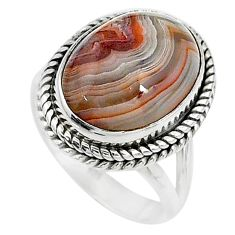 10.86cts solitaire natural mexican laguna lace agate silver ring size 8 t10406