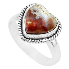 5.36cts heart mexican laguna lace agate silver handmade ring size 8 t21793