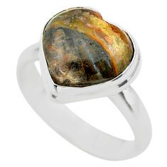 5.38cts solitaire natural mexican laguna lace agate silver ring size 8 t29212