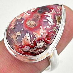 17.42cts solitaire natural mexican laguna lace agate silver ring size 8 t46919