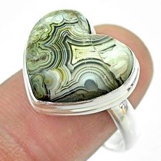 12.95cts solitaire natural mexican laguna lace agate silver ring size 8 t54143