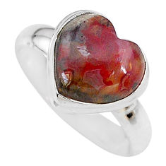 5.38cts heart natural mexican laguna lace agate silver ring size 9 t21681